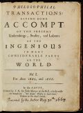 Philosophical Transactions in 1665