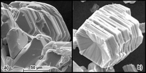 ESEM-micrograph of (a) 2H-NbSe2 and (b) NbSe2{CoCp2}0.26, from E-W Scheidt et al 2015 J. Phys.: Condens. Matter 27 155701