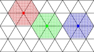 Hard hexagon particles on a triangular lattice