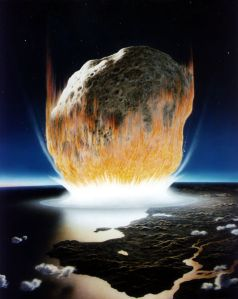 An artist's depiction of the asteroid impact 65 million years ago that many scientists say is the most direct cause of the dinosaurs' disappearance