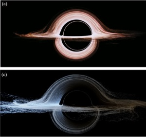 "Interstellar's accretion disc, with and without Doppler shift. Figure 15 a, c from ""Gravitational lensing by spinning black holes in astrophysics, and in the movie Interstellar"" Oliver James et al 2015 Class. Quantum Grav. 32 065001"