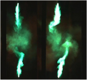 Photos of a plasma arc with copper electrodes from Y Cressault et al 2015 J. Phys. D: Appl. Phys. 48 415201