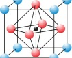A sketch of the arrangements of atoms in an ideal, cubic perovskite structure