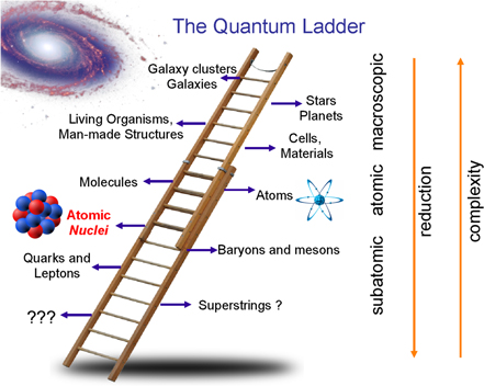 Quantum ladder: physical systems at various scales, from microscopic to macroscopic. As the atomic nucleus occupies the threshold between the fundamental and the emergent, nuclear structure physics is in a unique position to address overarching science questions from different perspectives.