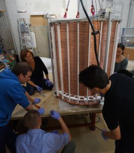 Laura and University of Zurich colleages assembling the XENON1T time projection chamber