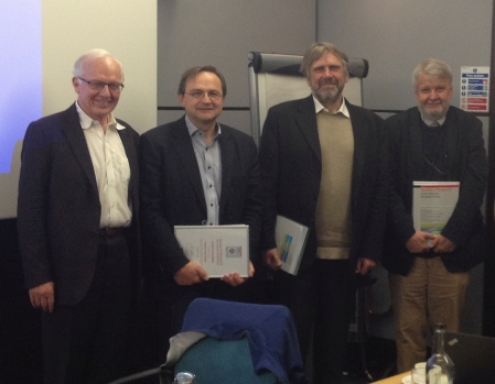 Editor-in-Chief Paul Corkum with leaving Board Members (L-R) Professors Franz Kaertner, Vladimir Akulin, Marek Kus