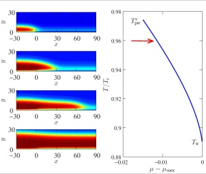 Continuous prewetting in a two-dimensional wedge. The top panel shows a selection of the fluid density profiles (left to right), as the prewetting line of the side walls is approached from below. The blue and red color map corresponds to the vapour and liquid, respectively. The bottom panel shows the prewetting line of the wedge side walls. The wetting temperature, Tw, the prewetting critical temperature, Tc pw, and the thermodynamic route (red arrow) corresponding to the density profiles are designated in the bottom panel. Note the nucleation of the prewetting films in the wedge apex below the prewetting transition on the side walls. Upon nucleation, the prewetting films continuously unbind along the wedge side walls from the apex, as the boundary of the prewetting transition is approached from below.