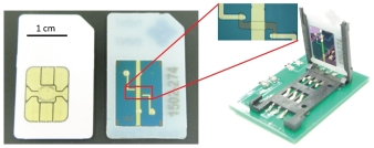 Photograph of the molecular junctions fabricated using a SIM-card pin-out (with a conventional SIM card shown for comparison) to simplify testing and integration into analog circuits, from Adam Johan Bergren et al 2016 J. Phys.: Condens. Matter 28 094011