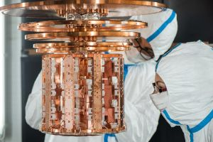 The CRESST detectors mounted inside the cryostat. Copyright A. Eckert/MPP.