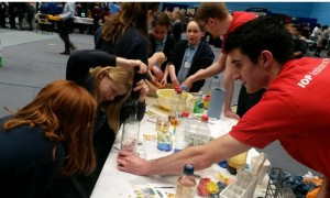 Lewis Hart (CDT-CMP second year student) at the CDT-CMP stall at Bath Taps into Science.