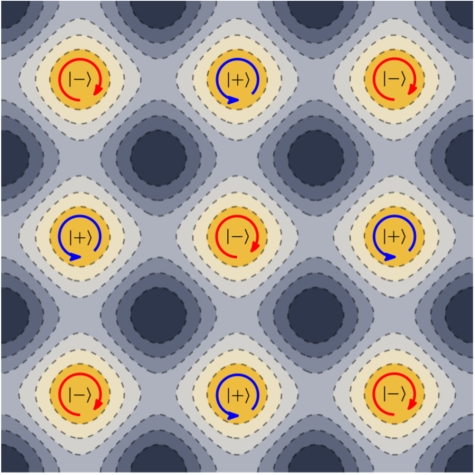 Diagram of final state of each atom in the lattice. Each site contains one atom in state |±> with angular momentum ≈ ±ħ