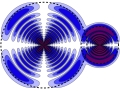 Charge density ρ for wave function ${{\rm{\Psi }}}_{{M}}$ in equation (2) with nA = 20, lA = 2, ${m}_{A}=-1$ and nB = 15, lB = 1, mB = 1. The dashed sphere with radius RA (RB) denotes the classical outer turning point of the electron of atom A (B).