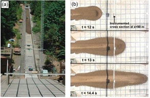 Figure 2 (a) USGS debris-flow large scale facility. (b) Vertical aerial photographs of a debris flow in the runout area, at different times after release. Scale is given by the 1-m grid. Image taken from Iverson R M et al 2010 Geophys. Res. 115 F03005. Copyright 2010. This material is reproduced with permission of John Wiley & Sons, Inc.