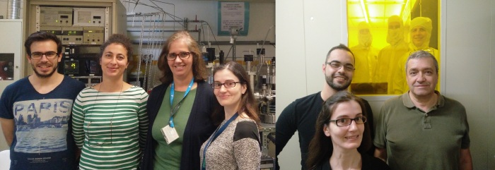 (Left) In the deposition room, Joao Valadeiro, Vania Silverio, Susana Cardoso and Diana Leitao. (right) Tomás Dias, Diana Leitao, Prof. Paulo Freitas and inside the clean-room Marilia Silva accompanied by INESC MN students.