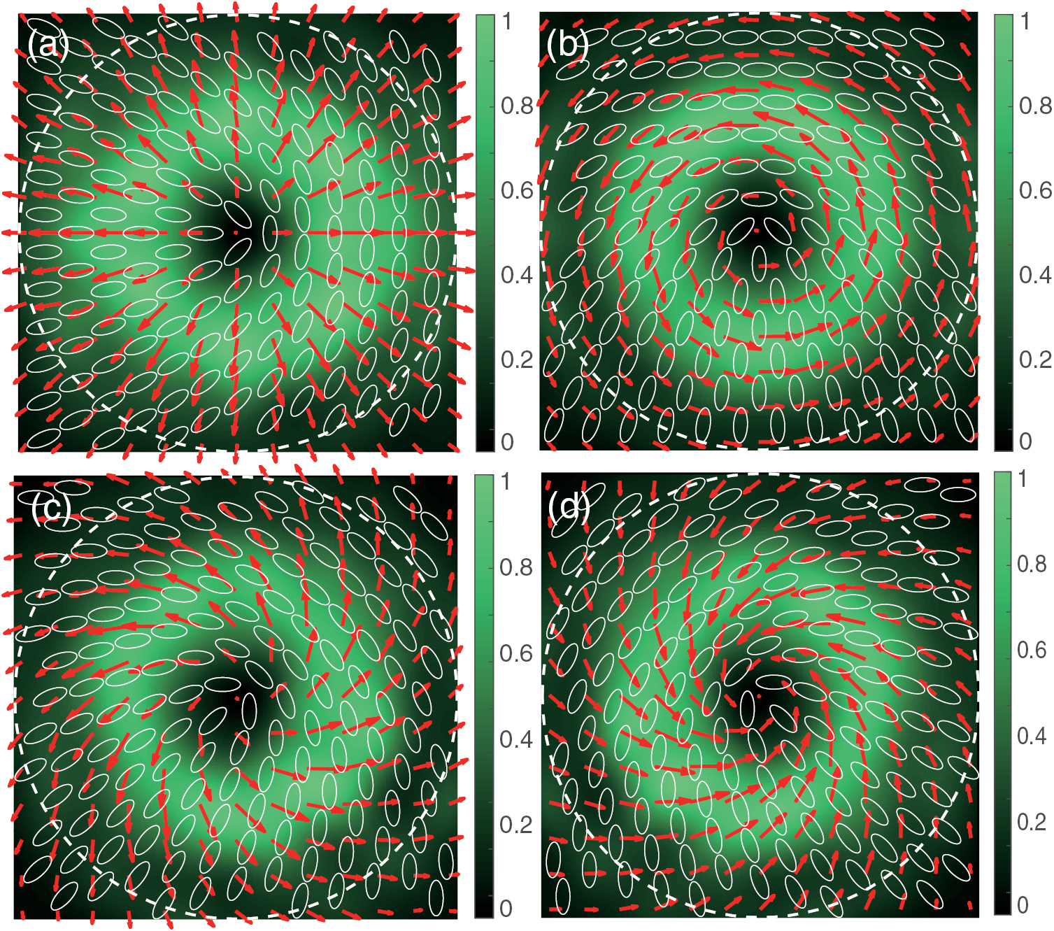 Polarization conversion by an all-dielectric metasurface of a linear polarization mode to vector modes a) radial polarization b) azimuthal polarization c,d) a superposition of radial and azimuthal modes. Image taken from Tongming Liu et al 2017 J. Phys. D: Appl. Phys. 50 334001, © IOP Publishing, All Rights Reserved.
