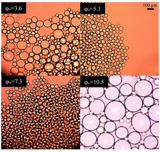 Coalescence of Pickering emulsions for increasing degrees of silicon nanoparticle coverage, φwt. Image taken from L A Chacon and J C Baret 2017 J. Phys. D: Appl. Phys. 50 39LT04, © IOP Publishing, All Rights Reserved.